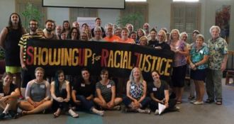 SURJ is a national network of groups and individuals working to undermine white supremacy and to work for racial justice. Through community organizing, mobilizing, and education, SURJ moves white people to act as part of a multi-racial majority for justice with passion and accountability.